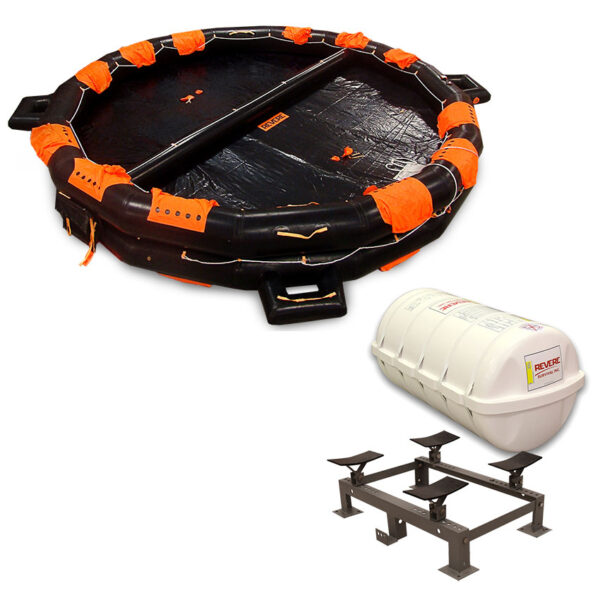 Revere Life Raft IBA USCG 25 Person Round Container with Cradle