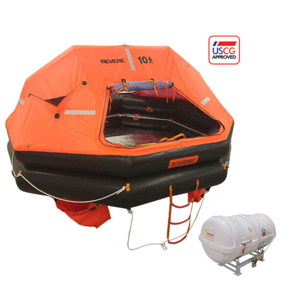 Revere Life Raft Uscg Solas 12 Person Round Container